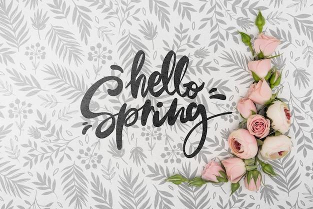 Vista superior de hermosas rosas de primavera