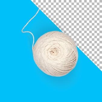 Vista superior de hilo de coser blanco aislado