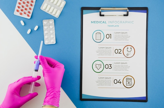 Vista superior infografía médica con maqueta