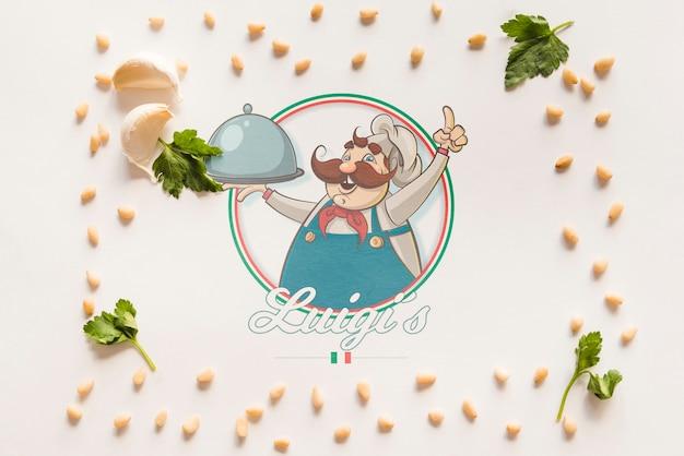 Vista superior de ingredientes de comida italiana con fondo blanco.