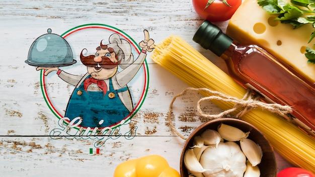 Vista superior de ingredientes de comida italiana con fondo de madera