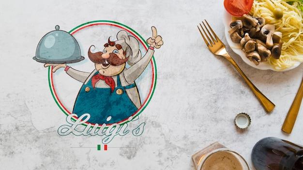 Vista superior de ingredientes de comida italiana con logo