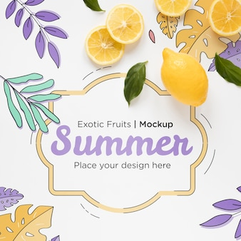 Vista superior de limones de verano con maqueta