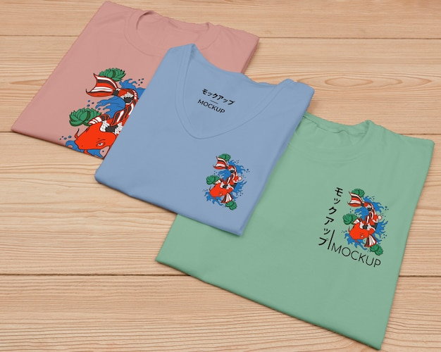 Vista superior de la linda maqueta del concepto de camiseta
