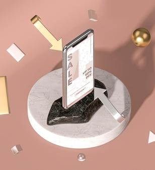 Vista superior de la maqueta 3d del teléfono móvil
