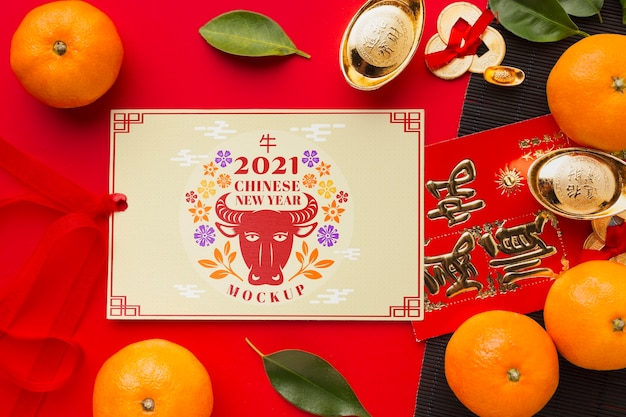 Vista superior de la maqueta del año nuevo chino