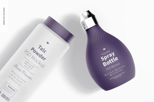 Vista superior de maqueta de botella de spray de polvo de peluquero
