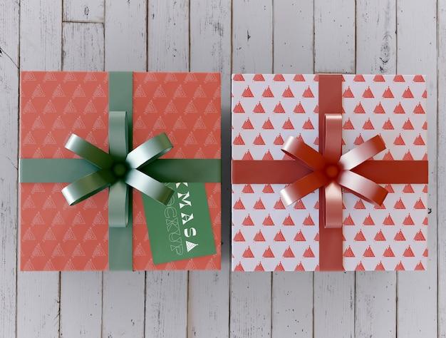 Vista superior de la maqueta de cajas de regalo de navidad