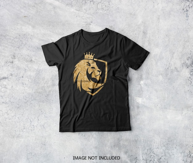 Vista superior de la maqueta de camiseta negra