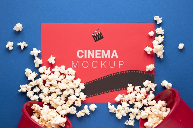 Vista superior maqueta de cine con palomitas de maíz