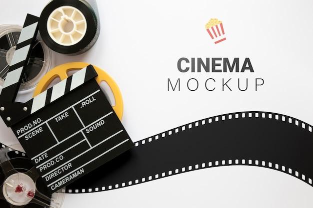 Vista superior maqueta de cine vintage