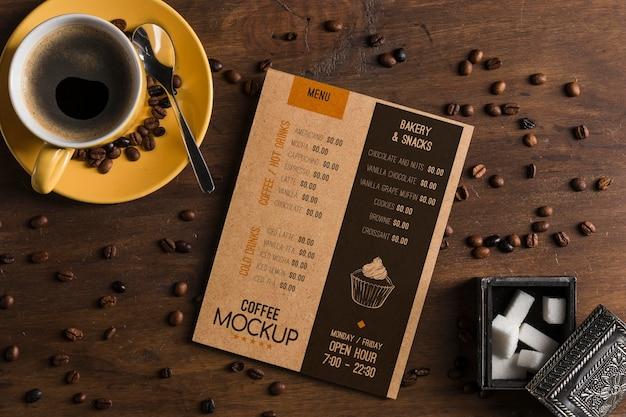 Vista superior de la maqueta del concepto de café