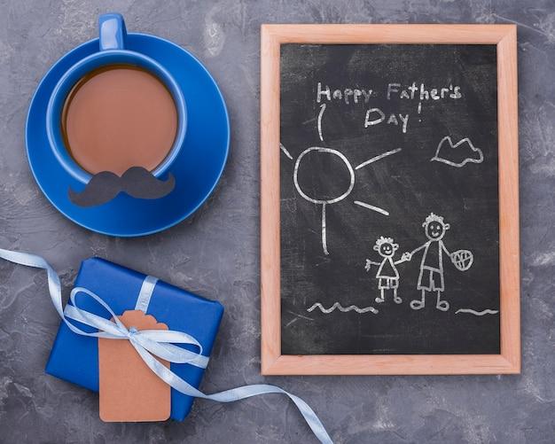 Vista superior de la maqueta del concepto del día del padre