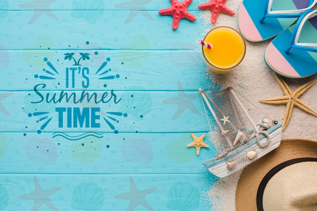 Vista superior maqueta de concepto de horario de verano
