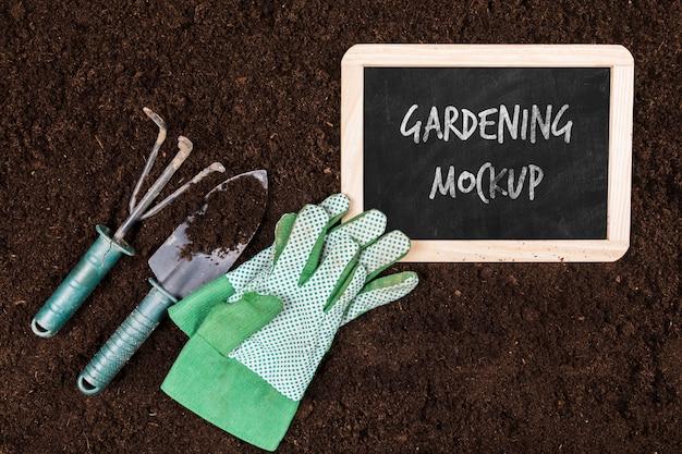 Vista superior de la maqueta del concepto de jardinería