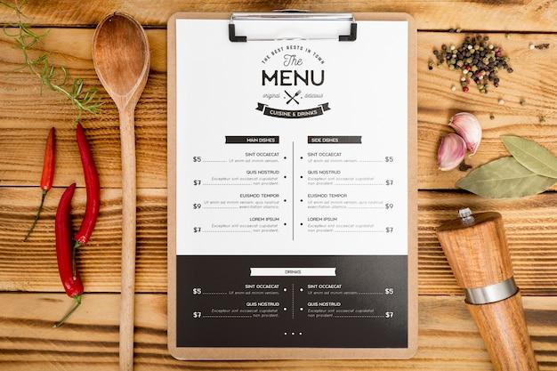 Vista superior de la maqueta del concepto de menú de comida