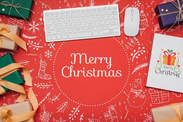 Vista superior de la maqueta del concepto de navidad