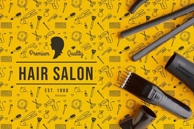 Vista superior de la maqueta del concepto de peluquería