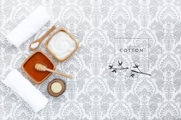 Vista superior de la maqueta de crema de mantequilla corporal