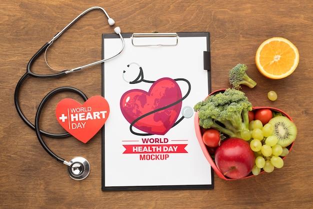 Vista superior maqueta del día de la salud comida sana