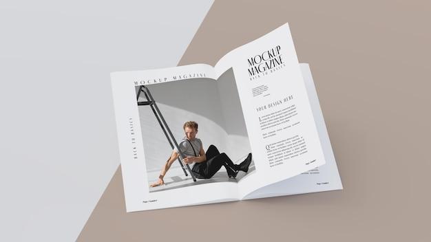 Vista superior de la maqueta de diseño de revista abierta