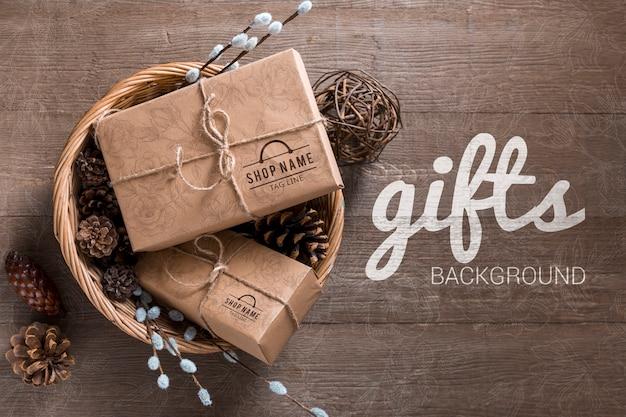 Vista superior maqueta envuelta regalos