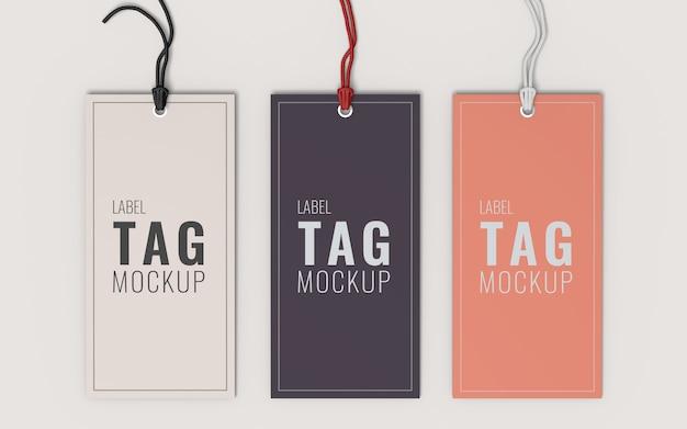 Vista superior de la maqueta de etiqueta de tres etiquetas de moda