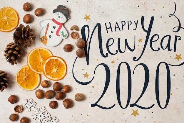 Vista superior de la maqueta de feliz año nuevo 2020