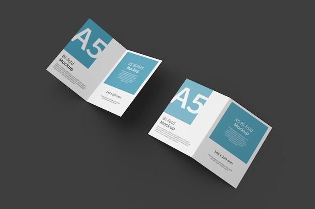 Vista superior de maqueta de folleto plegable a5