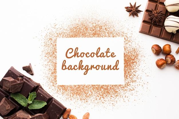 Vista superior maqueta de fondo de chocolate dulce en polvo
