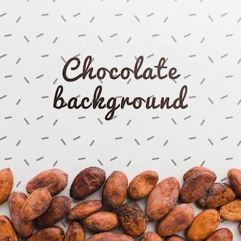 Vista superior maqueta de fondo de chocolate