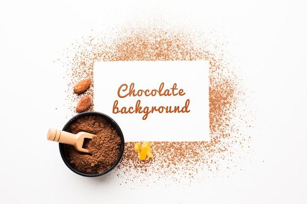 Vista superior maqueta de fondo de pantalla de cacao dulce