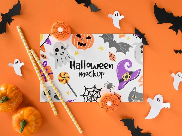 Vista superior de maqueta de halloween con calabazas PSD Premium