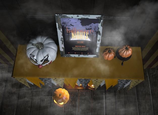 Vista superior maqueta de marco de noches de halloween en la niebla