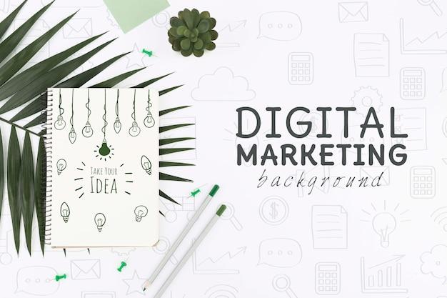 Vista superior maqueta de marketing digital