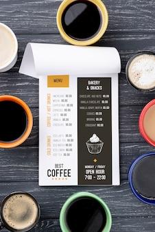 Vista superior maqueta de menú de café