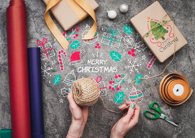Vista superior de la maqueta de navidad conept gits