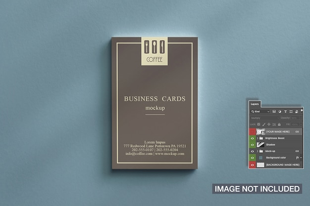 Vista superior de la maqueta de la pila de tarjetas de visita