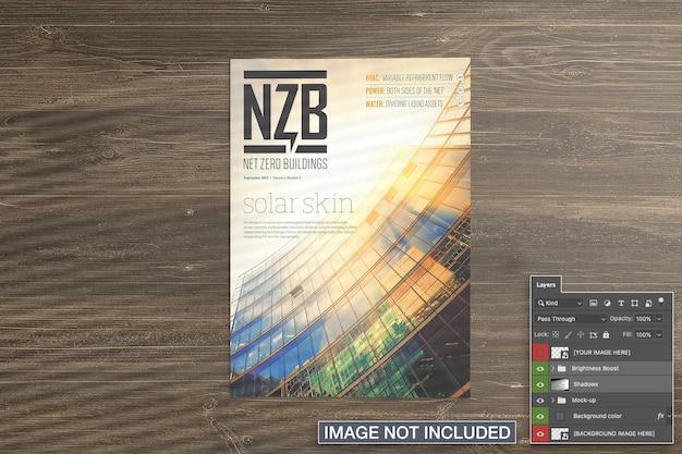Vista superior de la maqueta de portada de revista
