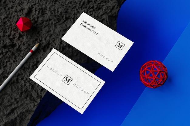 Vista superior de la maqueta de la tarjeta de visita