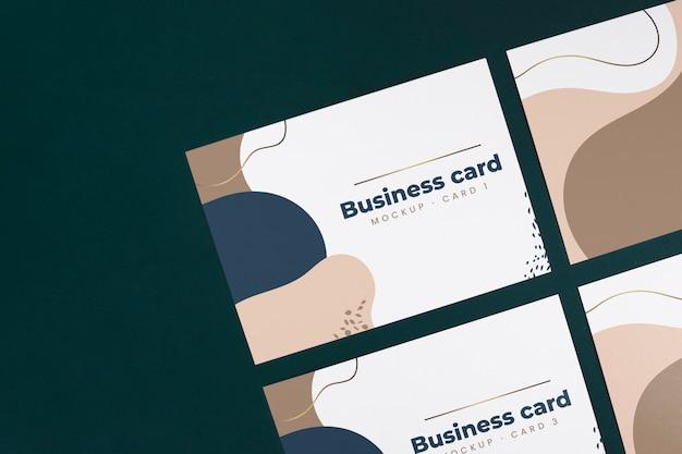 Vista superior maqueta de tarjeta de visita