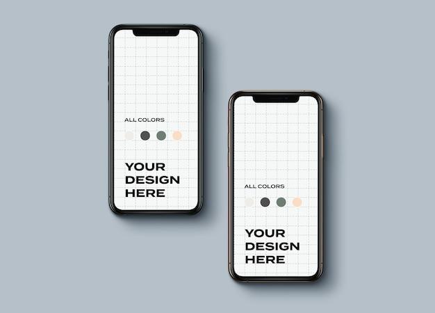Vista superior de maqueta de teléfonos inteligentes nuevos