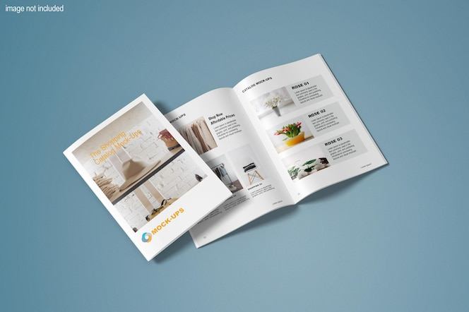 Vista superior de maquetas de folletos modernos y catálogos.