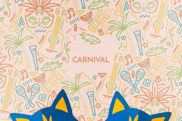 Vista superior de máscaras de gato de carnaval