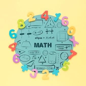 Vista superior de números coloridos para las matemáticas