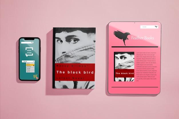 Vista superior portadas y contraportadas de un libro