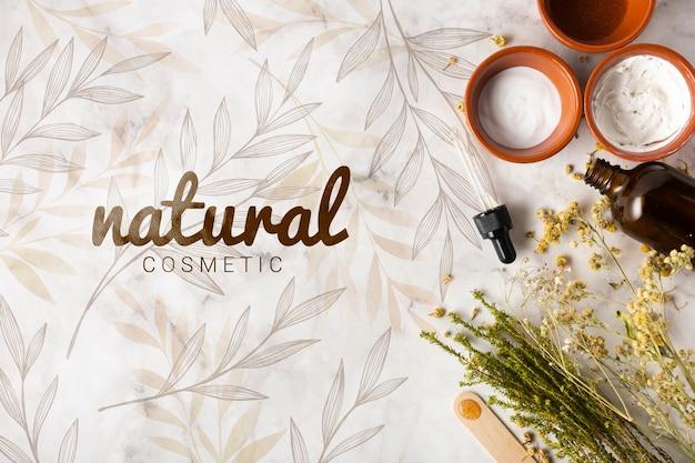 Vista superior de productos para el cuidado de la piel.