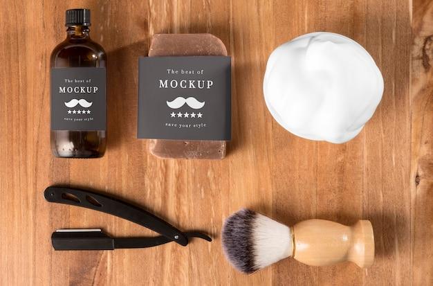 Vista superior de productos de peluquería.