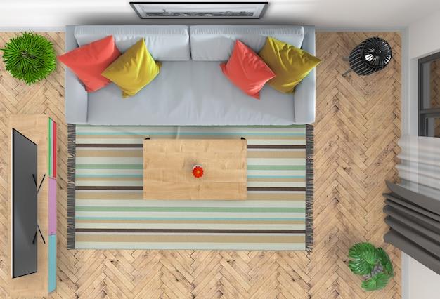 Vista superior de la sala de estar interior con smart tv. render 3d