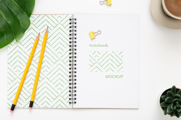 Vista superior de la superficie del escritorio con notebook y suculenta